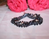 Midnight Blue Beadwoven and Pearl Bracelet in Russian Eyelet Pattern