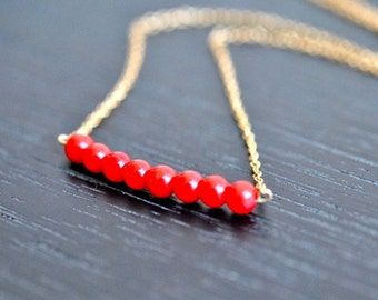 Red Coral Bar Beaded Gold Necklace - Sunset Horizon