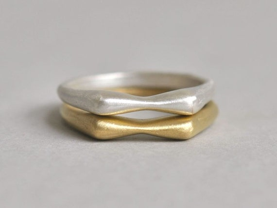 Organic Stackable Ring in brushed Sterling Silver - Sz 6