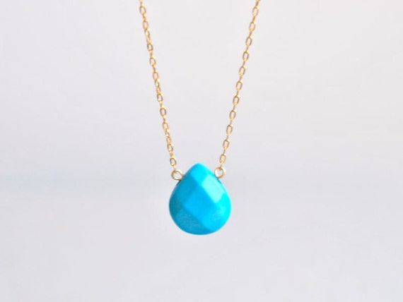 Faceted Turquoise Briolette Gold Necklace