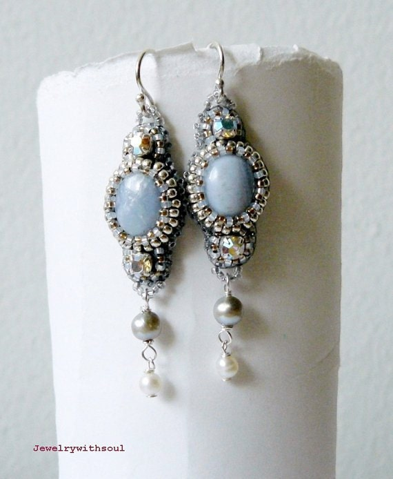Bead embroidery earrings with blue lace agate cabochons, crystals and freshwater pearls in silver and light sapphire blue - Ice crystals
