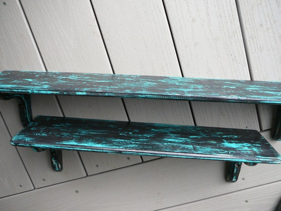 Shabby Chic Shelves Black Turquoise Set of Two with attached brackets