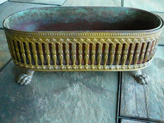 Vintage Patina Copper and Brass Claw Feet Unique Planter Holder
