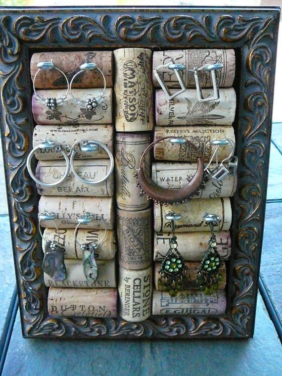 Jewelry Holder/Cork Art/Jewelry Organizer/OOAK/Jewelry Display/Frame with Wine Corks