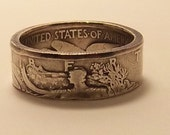 Silver coin ring walking liberty half dollar 90% fine silver jewelry year 1944 size 13 1/2 unique  GIFT