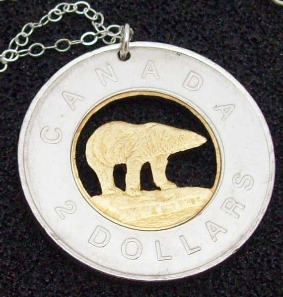 1996 Canadian Two Dollar Cut Coin Pendant SaLe Unique Christmas Gift With a Free Chain