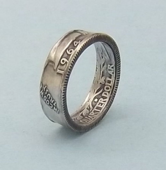Silver coin ring washington quarter year 1964 size 8  90% fine silver jewelry