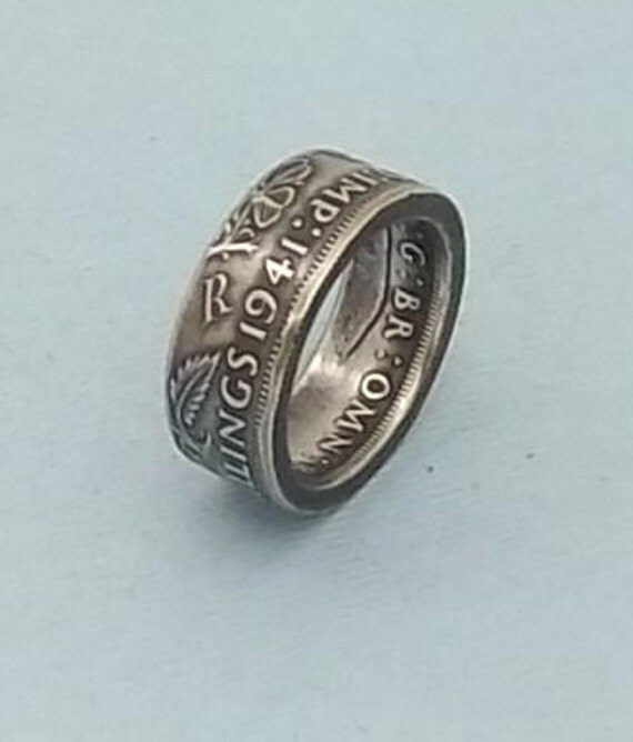 England/British Silver coin ring 1941 Two Shillings  50% fine silver jewelry size 9 1/2