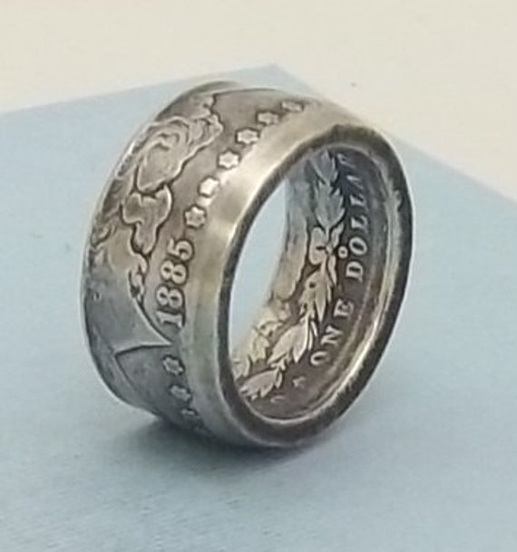 Mans Gift For DaD Silver coin ring Morgan dollar 90% fine silver jewelry year 1885 size 12 1/2