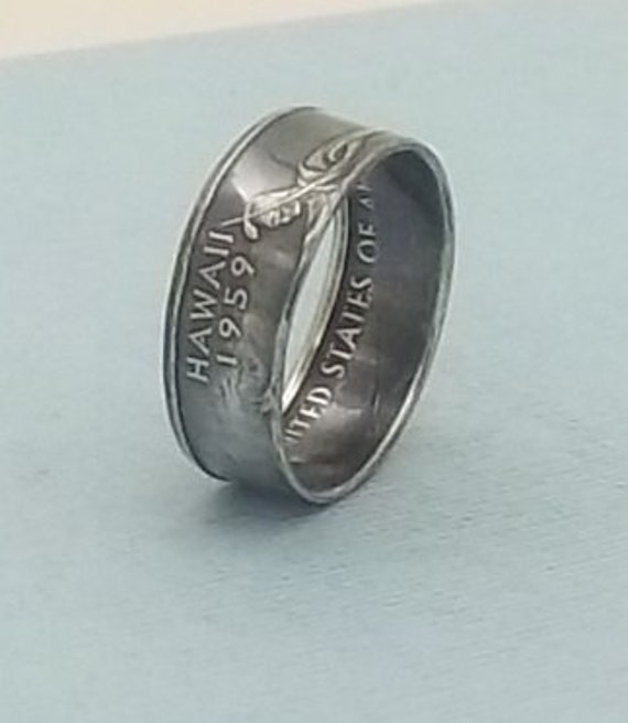 Silver coin ring  Hawaii State quarter year 2008 size 8,  90% fine silver jewelry unique statehood gift FREE SHIPPING