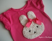 Toddler Girl Easter Bunny Rabbit Rosette Short Sleeve Hot Pink Shirt - 2T - 3T - 4T - 5T Spring Clothing - FREE SHIPPING