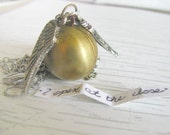 Harry Potter Golden Snitch necklace  Golden ball with silver wings just like in quidditch in Harry potter movies and books
