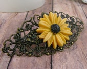 Bronze filigree hair barret with large yellow sunflower - Secret Garden Collection