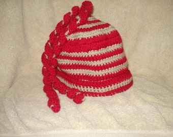Beautiful handmade crocheted red and tan youth/adult hat