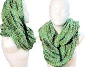 Green infinity Scarf, loop, muffler, lush, hand knitted, hand dyed yarn, OOAK