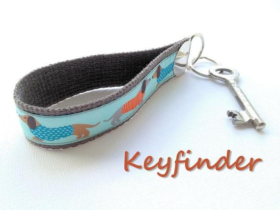 Keychain dachshund dog sausage hound wiener grey orange blue Key Fob