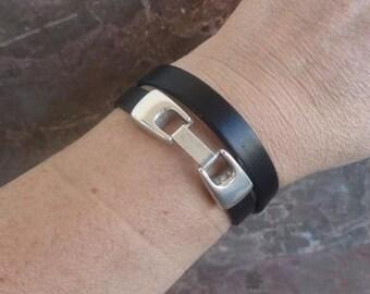 Double black 10mm  leather bracelet with zamak clasp