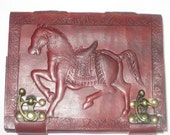 Personal travel Lucky Horse Emboss Blank Pure Genuine Leather Bound Diary/Journal/Notebook/Sketchbook with Lock