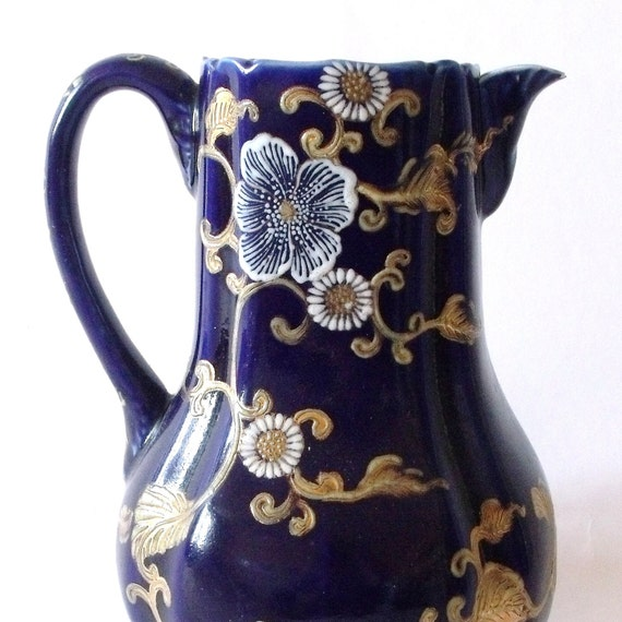 50s Cobalt Blue Tall Pitcher /1950s Handpainted  Pitcher / Shabby Chic