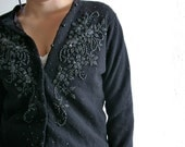 Vintage black pure wool and glass bead lined evening cardigan