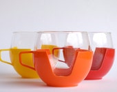 Vintage French retro heat resistant glass cups