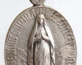 "Our Lady of Lourdes Vintage Virgin Mary Silver Medal on 18"" sterling silver rolo chain"