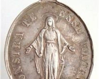 """Virgin Mary Vintage Sterling Religious Medal on 18"""" sterling silver rolo chain"""