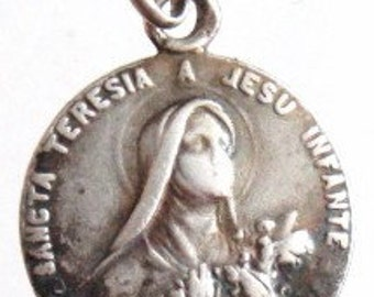 Sancta Theresa Sterling Silver Religious Medal Pendant on 18 inch sterling silver rolo chain