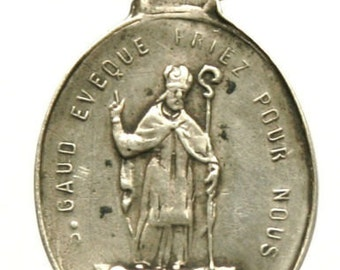 Saint Gaud & Saint Pair Antique Silver Religious Medal Pendant on 18 inch sterling silver rolo chain