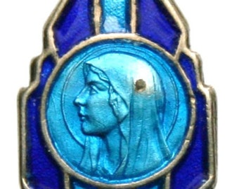 """Antique Sterling Enamel Blue Holy Virgin Mary of Lourdes Religious Medal on 18"""" sterling silver rolo chain"""