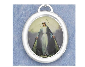 """Holy Mary Oval Religious Pendant in Color New Sterling Silver Charm on 18"""" sterling silver rolo chain"""