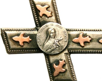 Antique Silver & Goldplated Cross Medal Brooch to SAINT THERESE