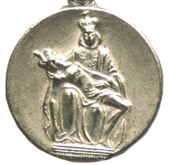 """Most HOLY MOTHER of SORROWS Vintage Medal on 18"""" sterling silver rolo chain"""
