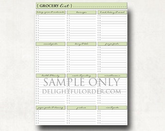 Grocery Shopping List PDF Printable File - Instant Digital Download