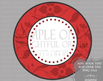 Red Floral Circle Labels/Tag - PDF Blank File & Add your text PNG File - Instant Digital Download