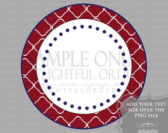 Red and Blue Trellis Circle Labels/Tag - PDF Blank File & Add your text PNG File - Instant Digital Download