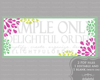 Editable and Printable - Floral Rectangle Label/Tags - (2) PDF Files - Instant Digital Download