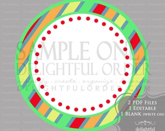 Editable and Printable - Colorful Stripe Circle Label/Tags - (2) PDF Files - Instant Digital Download