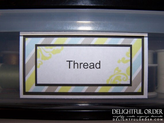 Editable and Printable - Stripe and Damask Rectangle Label/Tags - (2) PDF Files - Instant Digital Download
