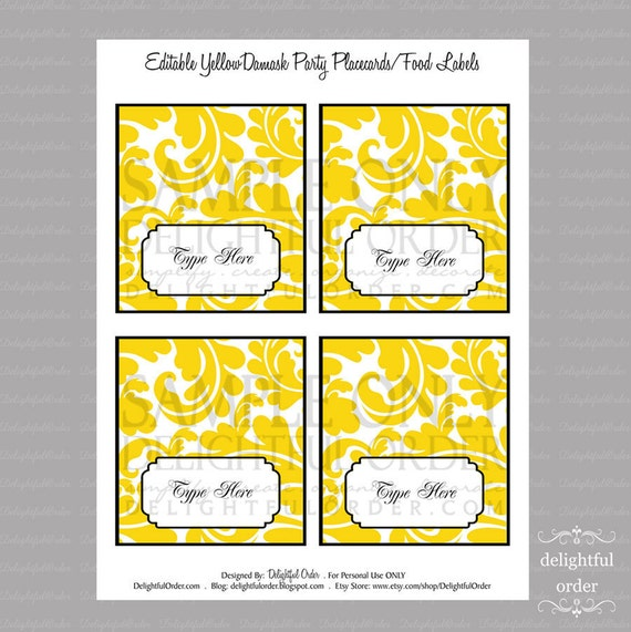 Editable And Printable Yellow Damask Placecard By