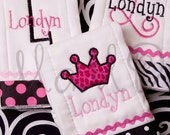 Boutique Monogrammed Personalized Posh Princess Burp Cloth Collection of 3
