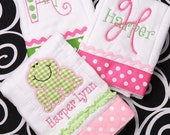 Boutique Monogrammed Personalized Froggie Burp Cloth Collection of 3