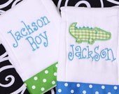 Boutique Monogrammed Personalized Baby Alligator Burp Cloths Collection of 2
