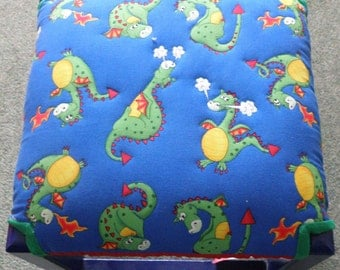 Pretty Upholstered Dragon Footstool