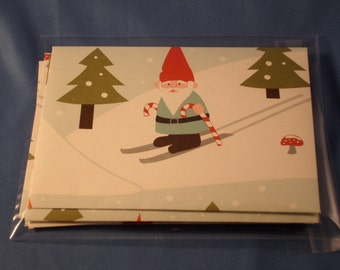SALE Six Skiing Gnomes Envelopes & Notecards