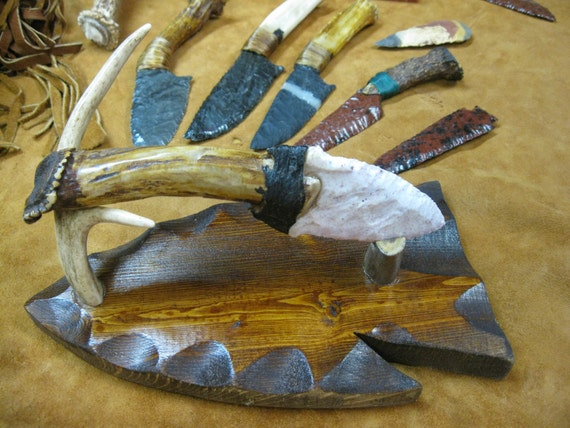 antler handled knife, flintknapped coastal plains chert blade