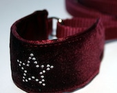 Made to order Burgundy Velvet Diamante Star Italian Greyhound Combi Collar