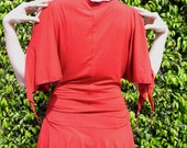 Kimono Sleeve Tunic Blouse in Red
