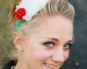 CLEARANCE Christmas Cheer - Red White & Green Ruffled Headband - Elastic