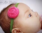 Pink Rosette Headband - (Newborn Infant Size)
